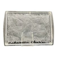 """Marie Claude Lalique France Art Glass Crystal Partridge """"Perdrix"""" Platter Plateau Design Clear & Frosted"""