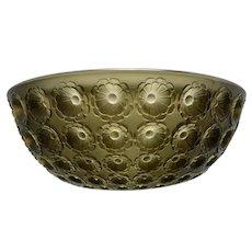 Rare Rene R Lalique Nemours Glass Bowl In Topaz Color France
