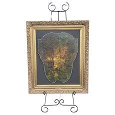 RARE Louis Icart Original Oil Painting Venetian Shield Red Period Art France Art Deco Impressionist