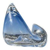 Vintage Steuben Crystal Glass Stylized Chicken Rooster Figurine Donald Pollard Design W Bag