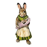 Vienna Austrian Franz Bergman Cold Painted Bronze Miniature Figurine Mother Rabbit W Baby Bunny Signed