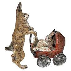 Vienna Austrian Bergman Cold Painted Bronze Miniature Figurine Mother Rabbit & Bunny In Baby Carriage