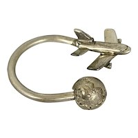 Vintage Tiffany & Co Sterling Silver Key Chain Ring W Airplane & Globe