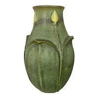 Vintage Jemerick Art Pottery Vase Mission Arts & Crafts Style Matte Green Charcoal & Yellow Buds