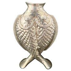 Vintage French Christofle Silver Plate Double Deux Fish Bud Vase