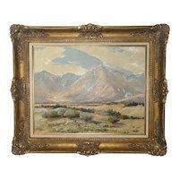 Edward Langley (1870-1949) Plein Air Oil Canvas Painting Coachella Valley Palm Springs Gilt Frame