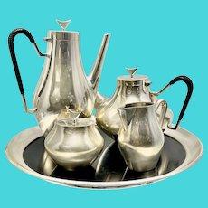 "1960's Space Age Reed & Barton Silver Plate Tea Set ""Denmark"" John Prip W Gorham Tray"