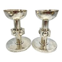 Pr Jean Despres French Art Deco Hammered Silver Plated Candle Holders Martele Cubist