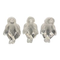 Daum France Frosted Clear Glass 3 Wise Monkey's Group See Hear Speak No Evil Figurines
