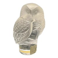 """Vintage Lalique France Crystal Art Glass Owl Paperweight Figurine """"Chouette"""""""