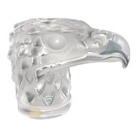 "Lalique France Art Glass Crystal Eagle Head ""Tete D'Aigle"" Hood Mascot Paperweight Sculpture"