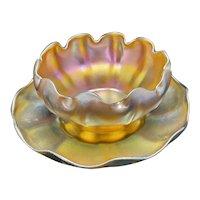 Tiffany Studios Favrile Art Glass Finger Bowl & Under Plate Strong Iridescence Signed
