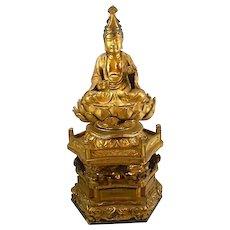 Antique Meiji Period Japanese Gilt Wood Carved Buddha Kwan Yin Lotus Base