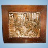 Antique French Étienne Alexandre Stella Bronze Relief Wall Plaque Sword Fight W Wood Frame