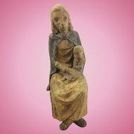Vintage French France Art Deco WPA Era Madonna & Child Figurine Stoneware Pottery Terra Cotta Sculpture Statue Signed