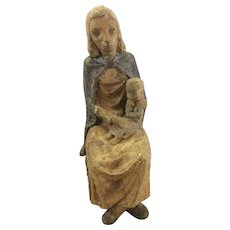 Vintage French France Art Deco WPA Era Madonna & Child Figurine Stoneware Pottery Terra Cotta Sculpture Statue Signed