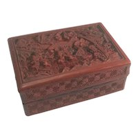 Old Chinese Cinnabar Box Owned By President Franklin Roosevelt First Lady Eleanor From The 1951 FDR Estate Auction by Hammer Galleries