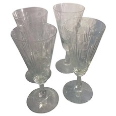 4 Art Deco Libbey Glass Lucerne Stem Architectural Skyscraper Wine Champagne Flutes Douglas Nash