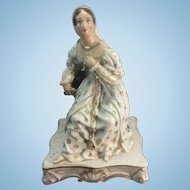 Antique Old Paris Porcelain French Maiden Young Woman Figural Scent Bottle Jacob Petit Style