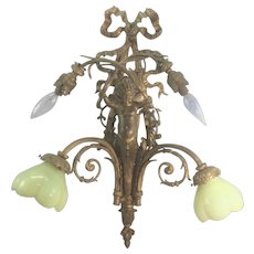 Large Vintage French Bronze Wall Sconce Putti Winged Cherub Vaseline Opalescent Shades