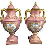 Antique Pair Sevres France Porcelain Pink Gilt Cabinet Lidded Urns Vases French