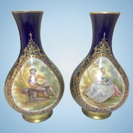 Pair Antique French Sevres Cobalt Blue Porcelain Vases Hand Painted Panels Gilt Trim Ormolu Base Jeweled