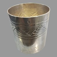 French Sterling Silver Kiddush or Mint Julep Cup Alphonse Dutac Art Deco Geometric Design France
