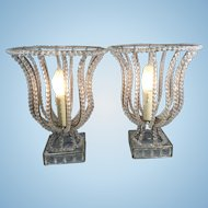 Pr Vintage French Italian Crystal Glass Beaded Bell Shaped Table Lamps Hollywood Regency