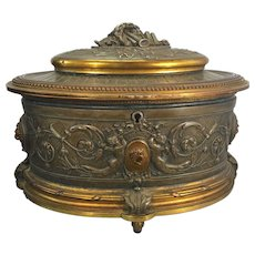Antique French Footed Bronze Casket Jewelry Box Cherubs Louis XVI Neoclassical