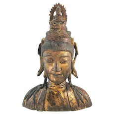 Antique Polychrome Chinese Kwan Quan Yin Wood Bust Sculpture