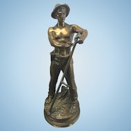 Adrien Etienne Gaudez French Artist Bronze Sculpture Faucheur Farm Boy W Sickle
