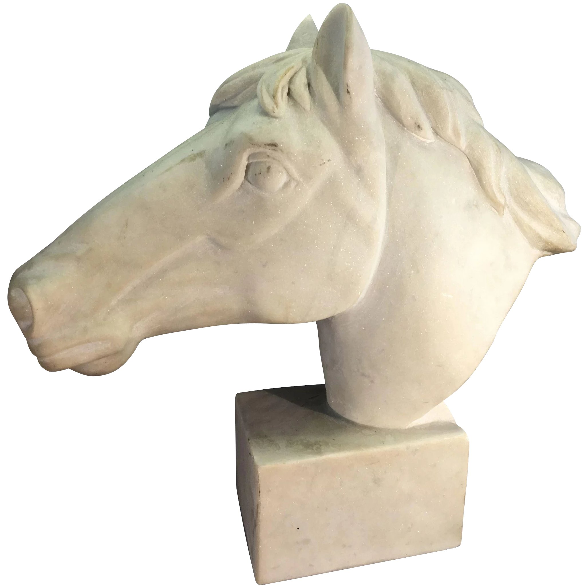 Vintage Horse Head Sculpture Bust Alabaster Or Stone Marble Statue Royal Pelican Antiques Ruby Lane