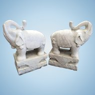 Pair Carved Marble Elephants On Plinths Anglo Indian Asian Sculpture