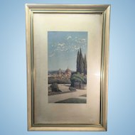 Ernesto Bensa Original Watercolor Painting Florence Italy 1866-1897