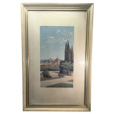 Ernesto Bensa Original Watercolor Painting Florence Italy 1866-1897