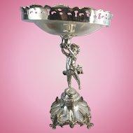 Portuguese 833 Solid Silver Tazza Compote Epergne Centerpiece Bowl Cherub Neoclassical