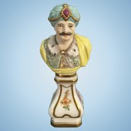 Old German European Porcelain Mini Bust Maharaja Prince Asia