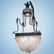 Old French Bronze Ormolu Crystal Glass Chandelier