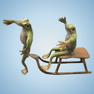 Bergmann Vienna Austrian Cold Painted Bronze Frogs On Snow Sled