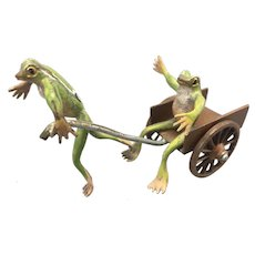 Bergmann Vienna Austrian Cold Painted Bronze Frogs W Wagon