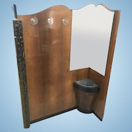 French Art Deco Hall Tree Entry Stand Mirror Coat Rack W Umbrella Stand