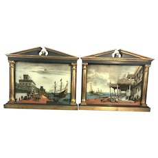 Pair Old Palladio Italy Tabernacle Gilt Frames Reverse Painting