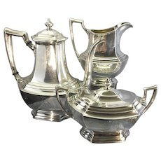 Old Wallace Sterling Silver 3 Piece Tea Coffee Set Service Washington Pattern