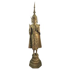 19th C. Asian Thai Gilt Bronze Ratanakosin Buddha Sculpture