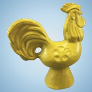 Old Stoneware Yellow Glazed Rooster Sculpture Art Pottery Country Kitchen