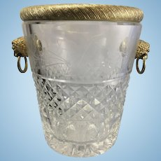 Vintage French Cut Crystal Glass W Ormolu Champagne Wine Cooler Bucket