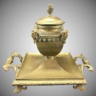 Antique French Bronze Inkwell Buttressed Heads W Handles Fleur De Lis Feet
