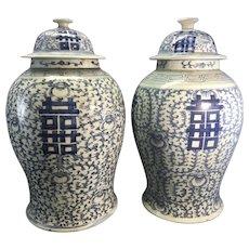 Pr Large Old Chinese Porcelain Blue White Covered Ginger Jars Signed Asian