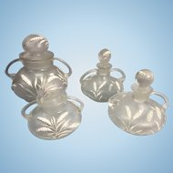 Vintage Czech Art Glass Vanity Jar Set Enamel Wheat Leaves Corroso Texture