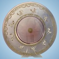 Antique Venetian Art Glass Pink Cranberry Charger Plate W Enamel Minotaur Decoration Gilt